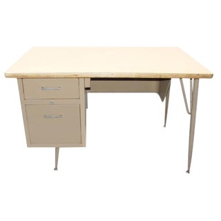 Vintage Tan Metal Student Desk