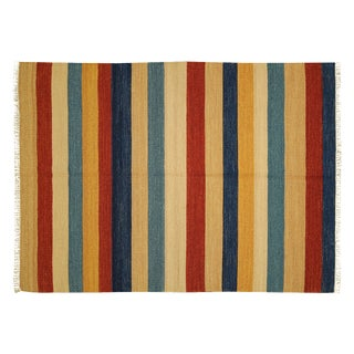 "Multi-Color Striped Modern Kilim Rug - 4'7"" x 6'7"""