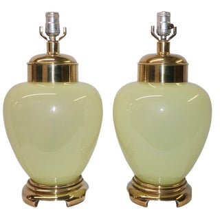 Warren Kessler Jade Opaline Glass Ginger Jar Lamps