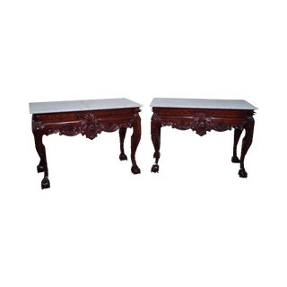 Quality Pair of Carved Mahogany Georgian Style Marble Top Console Tables