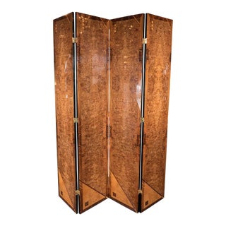 Art Deco Style Four Panel Screen in Burled Carpathian Elm with Geometric Shapes