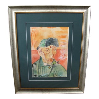 Watercolor Portrait of Vincent Van Gogh by David Burliuk, 1940