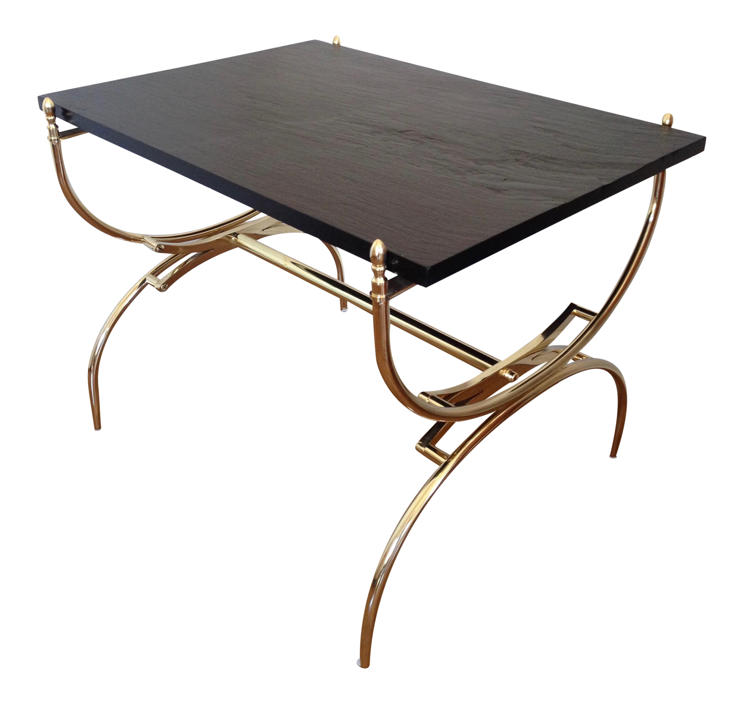 Mid Century Brass U0026 Slate Side Table