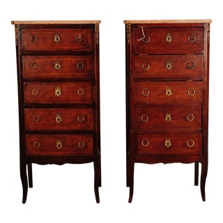 Pair of Beautiful 19th Century Louis VI French Lingerie Chests w/Marble top-NICE!