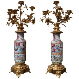 Pair of Chinese Rose Mandarin Candelabras