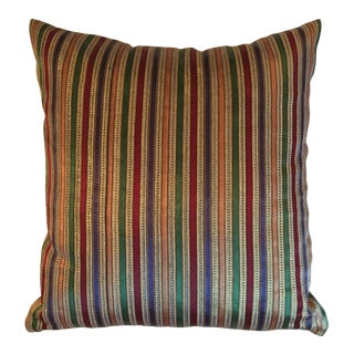 "Lush Stripped Thai Silk Pillow - 16"" x 14"""