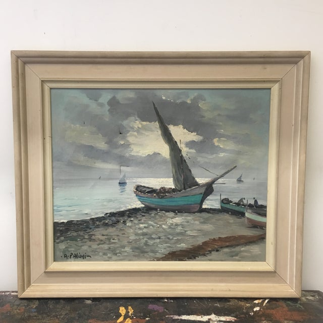 Vintage Nautical Oil Seascape - Image 2 of 11
