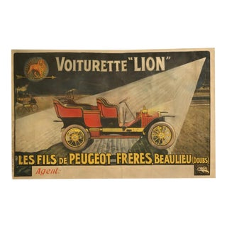 "Automobile Poster for Voiturette ""Lion"" Peugeot by Cram, circa 1905-1909"
