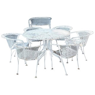 MCM Salterini Style Iron Patio Set, Six Chairs, Loveseat and Dining Table