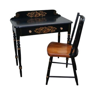 Hitchcock Black Federal Stenciled Writing Desk W/ Chair