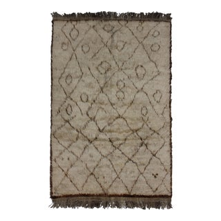 Hand Knotted Shag Area Rug - 3′9″ × 5′6″