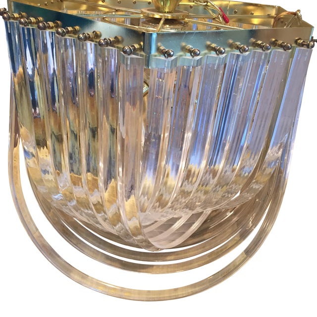 Dorothy Thorpe Style Vintage Lucite Ribbon Chandelier - Image 1 of 5