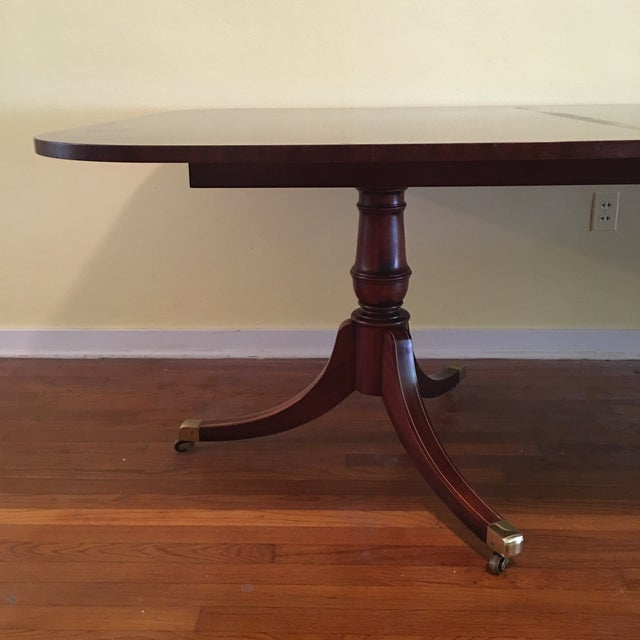 Vintage hickory chair double pedestal dining table chairish for Double pedestal dining table plans