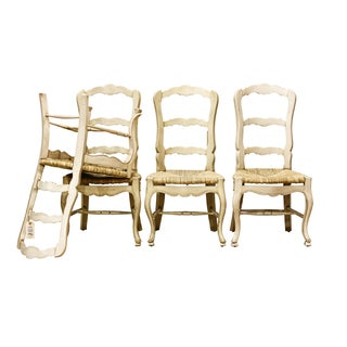 Cream Colored Ladder Back Dining Chairs - Set of 4