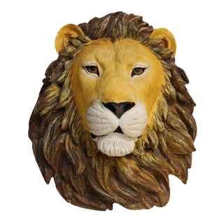 Plaster Wall Hand Painted Lion Head