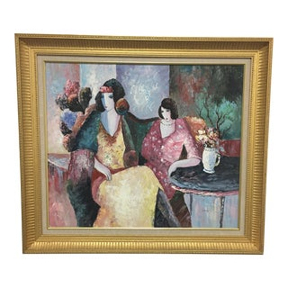 High Tea Original Oil Painting on Canvas Signed Levin and Titled