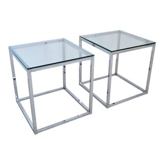 Milo Baughman Style Mid Century Modern Chrome & Glass Cube Side Tables - a Pair Millennial