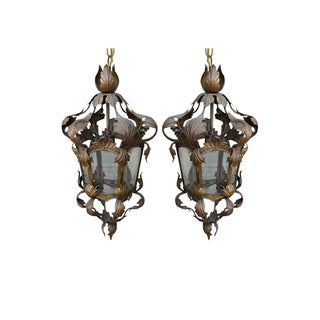 Italian Wrought Iron Lanterns - Pair