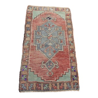 Vintage Turkish Oushak Tribal Hand Knotted Rug- 1'8 x 3'1