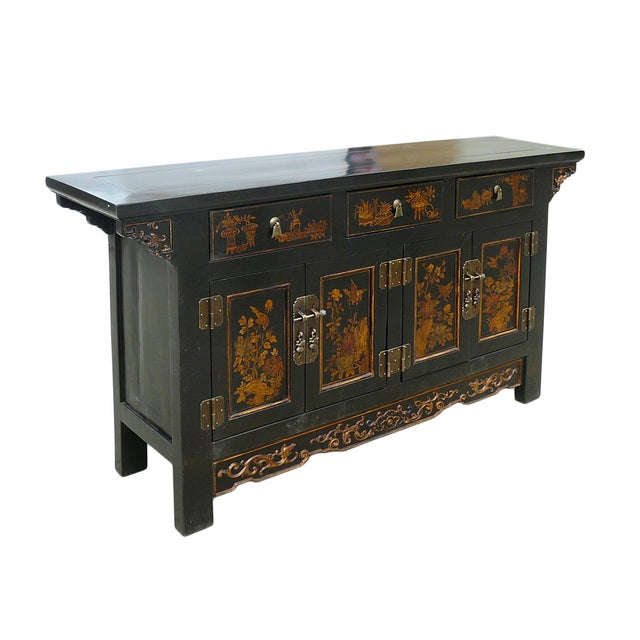 Vintage Golden Graphic Low Console Table - Image 3 of 8