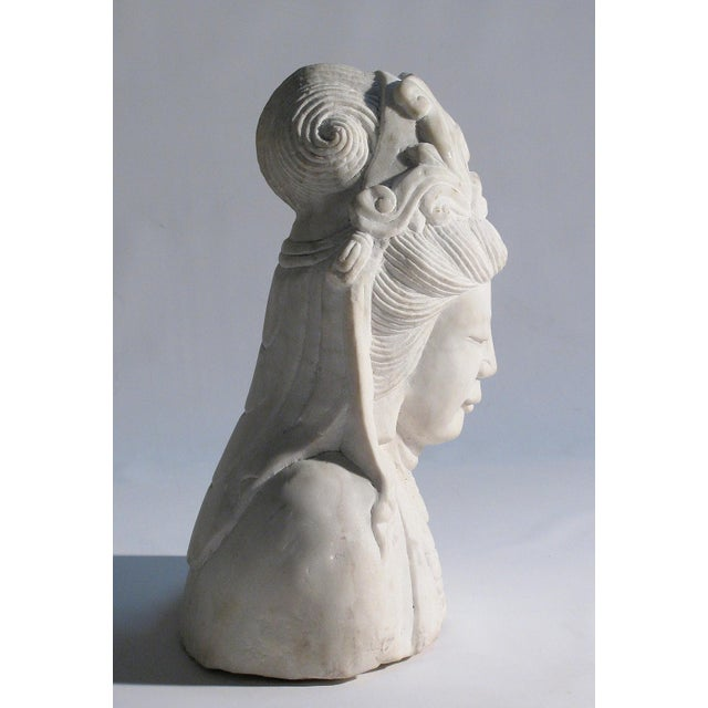 Hand Carved Solid Marble Bust of Quan Yin - Image 3 of 5