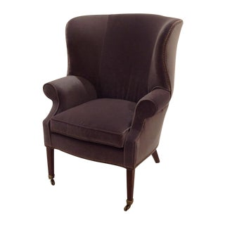 Lillian August Preston Gray Velvet Wing Chair