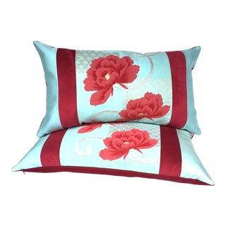 Rust Peony & Ice Blue Vintagee Japanese Obi Pillows - A Pair