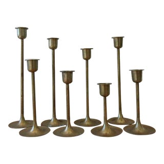 Vintage Graduated Brass Candlesticks - Set of 8
