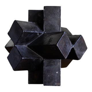 Mid-Century Abstract Bronze Geometric Sculpture