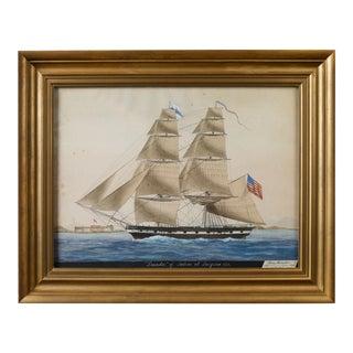 """Ship """"Leander"""" of Salem at Smyrna Painting, 1831"""