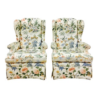 Vintage Chintz Wingback Armchairs - A Pair