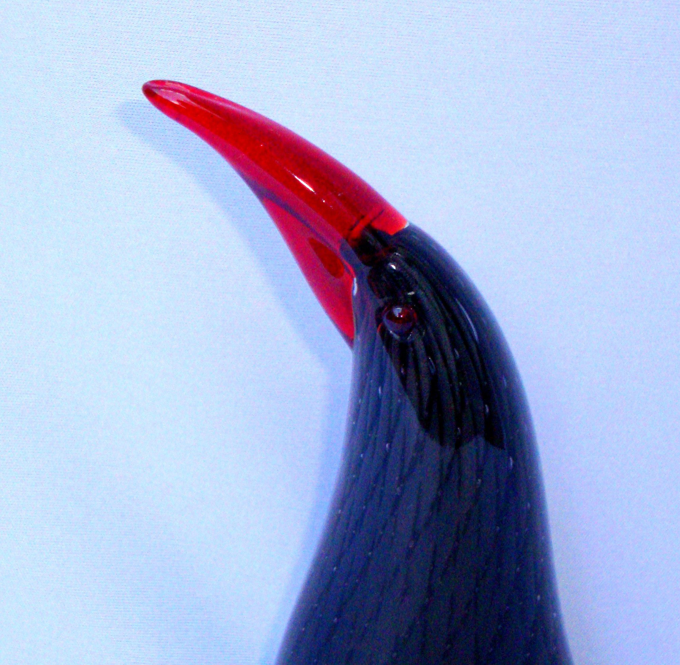 Murano Italian Art Glass Black Red Bird Chairish
