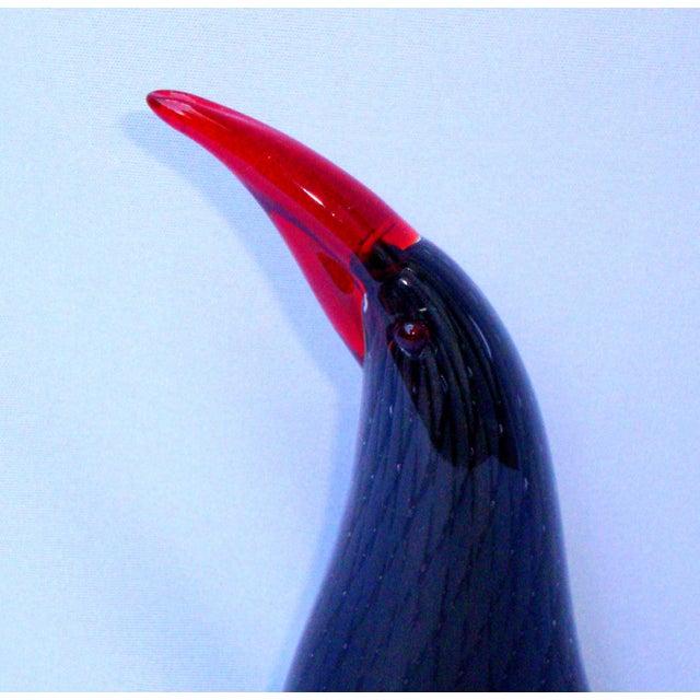 Image of Murano Italian Art Glass Black Red Bird