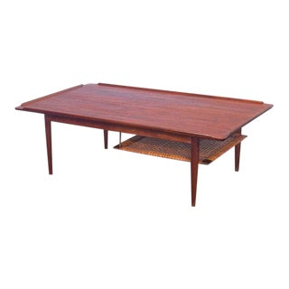 Selig Coffee Table with Woven Cane Shelf