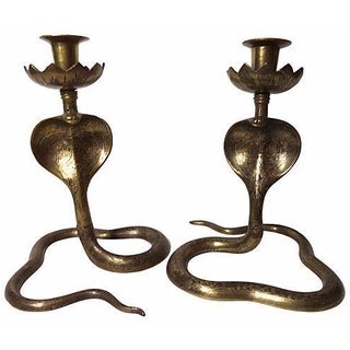 Brass Cobra Candlesticks - A Pair