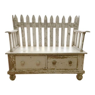 Repurposed Picket Fence Storage Bench
