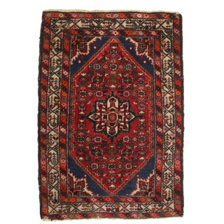 Vintage Hand Knotted Wool Persian Hamedan Rug - 3′5″ × 4′11″