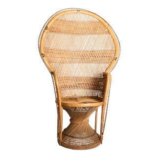 Vintage Boho Chic Wicker Peacock Chair