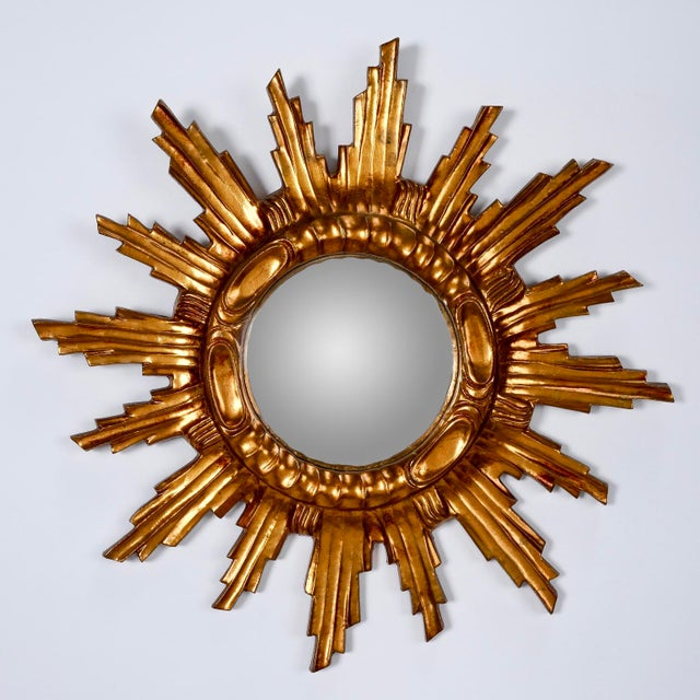 Spanish Mid-Century Carved Giltwood Sunburst Wall Mirror - Image 2 of 5