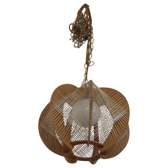 Danish Modern Wood Woven Geometric Swag Lamp - Image 1 of 7