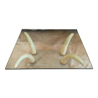 Faux Elephant Tusk & Lucite Coffee Table