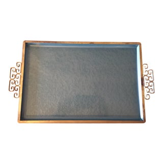 Blue Enameled Vanity or Serving Tray