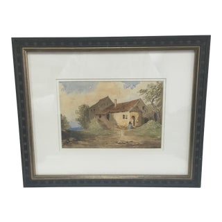 1846 French Old Homestead Watercolor