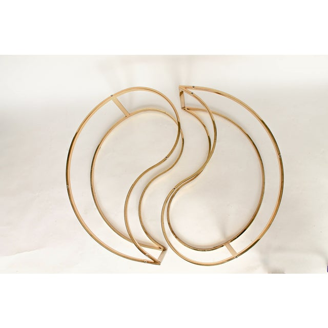 Yin Yang Brass & Glass Side Tables - A Pair - Image 7 of 7
