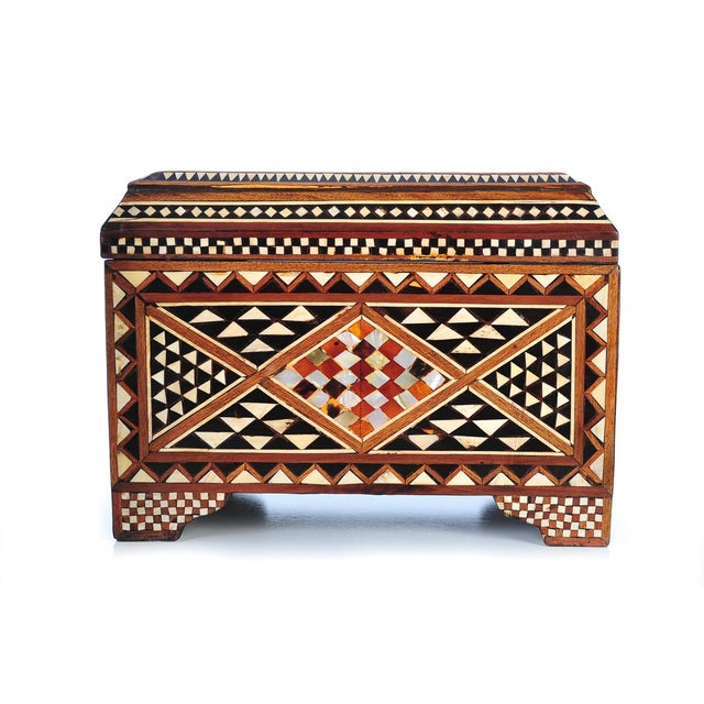 19th Century Syrian Inlaid Wooden Treasure Chest - Image 2 of 9