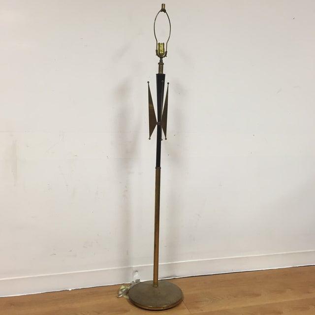 Atomic Brass & Black Floor Lamp - Image 2 of 8