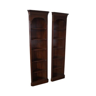 Ethan Allen Georgian Court Solid Cherry Narrow Corner Cabinets - a Pair