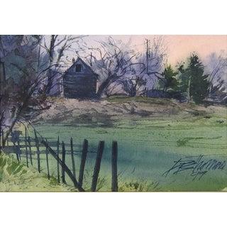 Rustic Farmhouse Sunrise Watercolor
