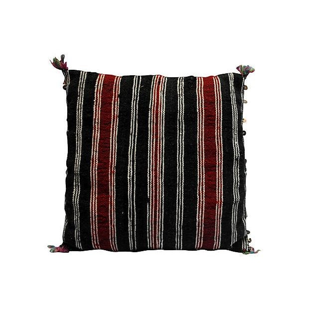 Image of Handwoven Blue Sequin Moroccan Kilim Pillow