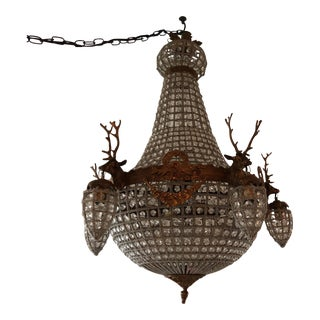 Bronze 5 Head Large Deer Stag Crystal Chandelier